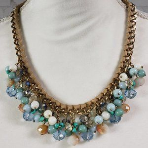 Beads Crystals & Ribbon Statement Collar Necklace